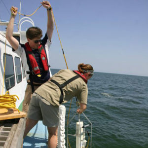 Taking temperature and salinity measurements on a NOAA fisheries cruise 2009